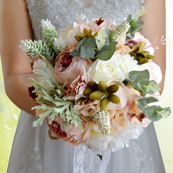 BMbridal Real Touch Colorful Artifial Roses Wedding Bouquet_12