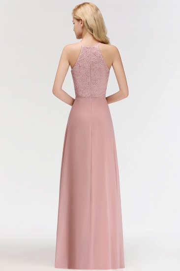 Gorgeous High-Neck Halter Lace Affordable Bridesmaid Dress with Ruffle_3