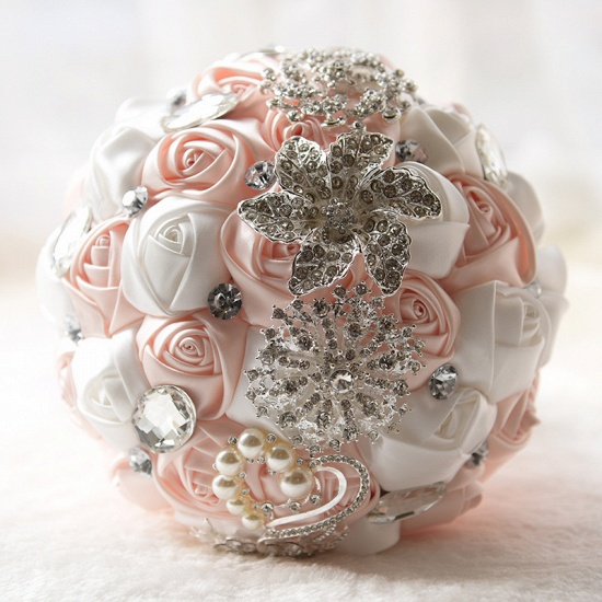 Colorful Silk Rose Crystal Beading Wedding Bouquet_3