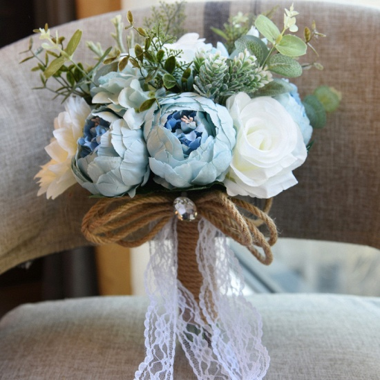 BMbridal Real Touch Colorful Artifial Roses Wedding Bouquet_7