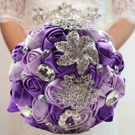 BMbridal Colorful Silk Rose Crystal Beading Wedding Bouquet_9