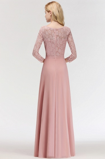 BMbridal Elegant 3/4 Sleeves Lace Long Dusty Rose Bridesmaid Dresses Online_3
