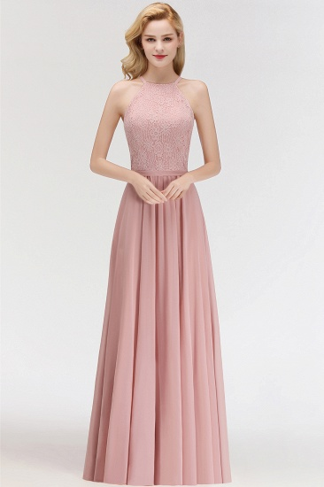 Gorgeous High-Neck Halter Lace Affordable Bridesmaid Dress with Ruffle_1