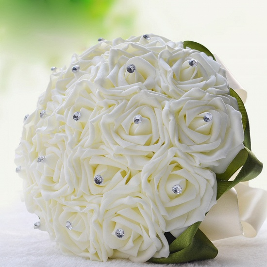 BMbridal Ivory Silk Beading Rose Bouquet with Colorful Ribbons_13