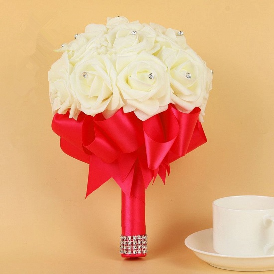 BMbridal Ivory Silk Beading Rose Bouquet with Colorful Ribbons_4