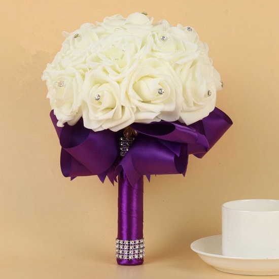 BMbridal Ivory Silk Beading Rose Bouquet with Colorful Ribbons_6