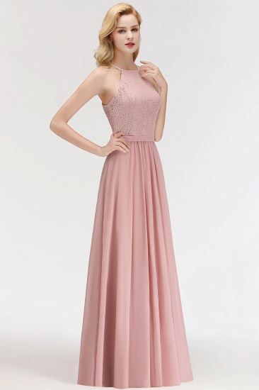 Gorgeous High-Neck Halter Lace Affordable Bridesmaid Dress with Ruffle_4