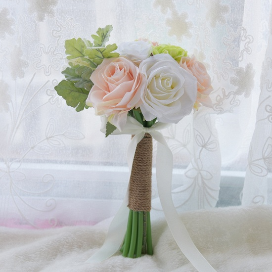 BMbridal Real Touch Artificial Peony and Rose Wedding Bouquet_1