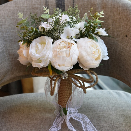 BMbridal Real Touch Colorful Artifial Roses Wedding Bouquet_2