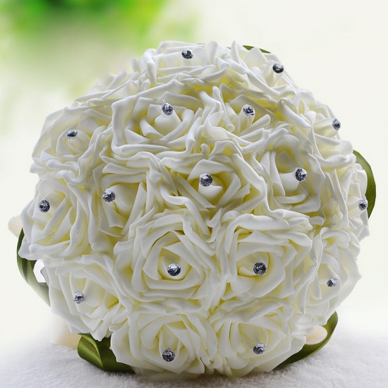 BMbridal Ivory Silk Beading Rose Bouquet with Colorful Ribbons_14