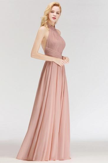 BMbridal A-line Floor Length Halter Ruffled Chiffon Bridesmaid Dress_5