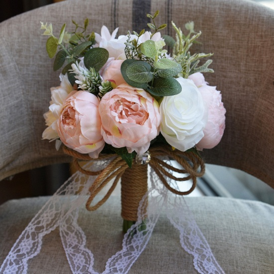 BMbridal Real Touch Colorful Artifial Roses Wedding Bouquet_6