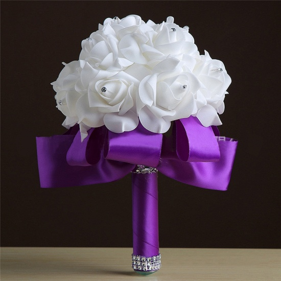 White Silk Rose Crystal Beading Bouquet in Colorful Handles_5