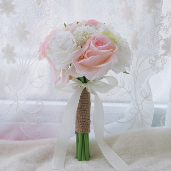 BMbridal Real Touch Artificial Peony and Rose Wedding Bouquet_6