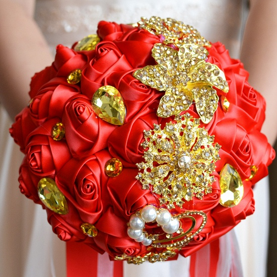 BMbridal Colorful Silk Rose Crystal Beading Wedding Bouquet_6