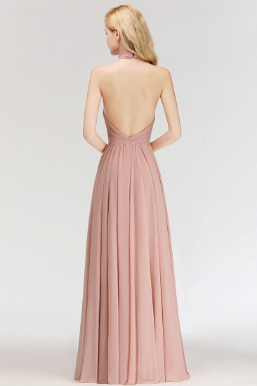 BMbridal A-line Floor Length Halter Ruffled Chiffon Bridesmaid Dress_3
