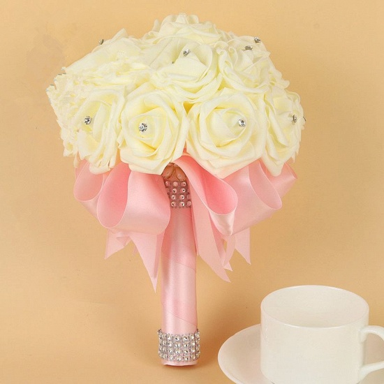 BMbridal Ivory Silk Beading Rose Bouquet with Colorful Ribbons_3