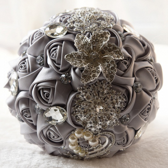 Colorful Silk Rose Crystal Beading Wedding Bouquet_11