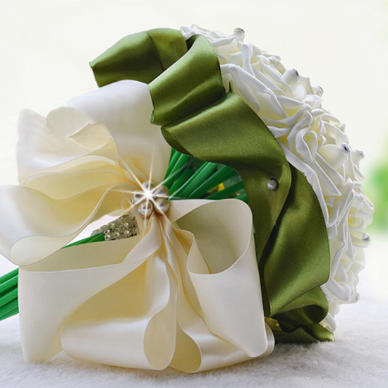 BMbridal Ivory Silk Beading Rose Bouquet with Colorful Ribbons_15