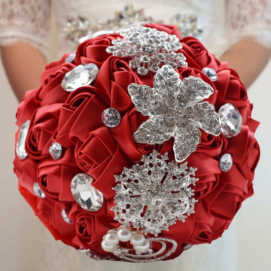 BMbridal Colorful Silk Rose Crystal Beading Wedding Bouquet_4