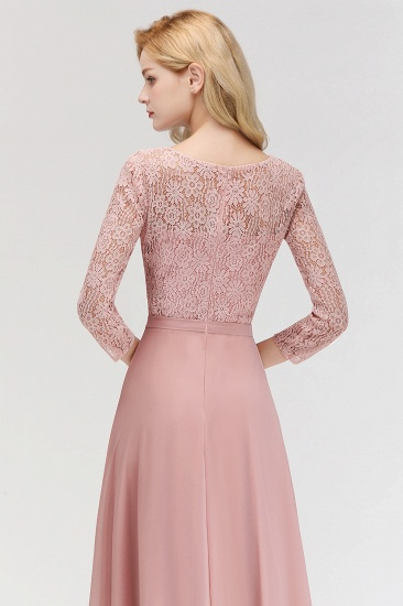 BMbridal Elegant 3/4 Sleeves Lace Long Dusty Rose Bridesmaid Dresses Online_7