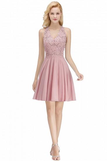 BMbridal A-line V-neck Sleeveless Short Appliques Chiffon Homecoming Dress_1