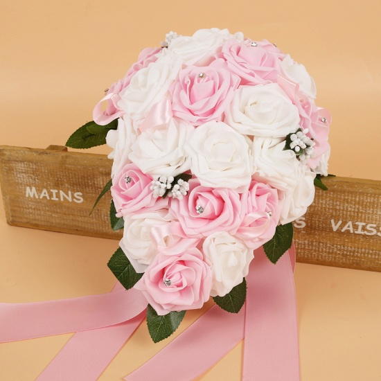 BMbridal Colorful Silk Rose Wedding Bouquet with Ribbons_2