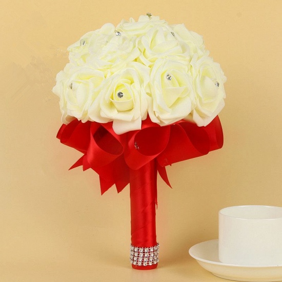 BMbridal Ivory Silk Beading Rose Bouquet with Colorful Ribbons_5