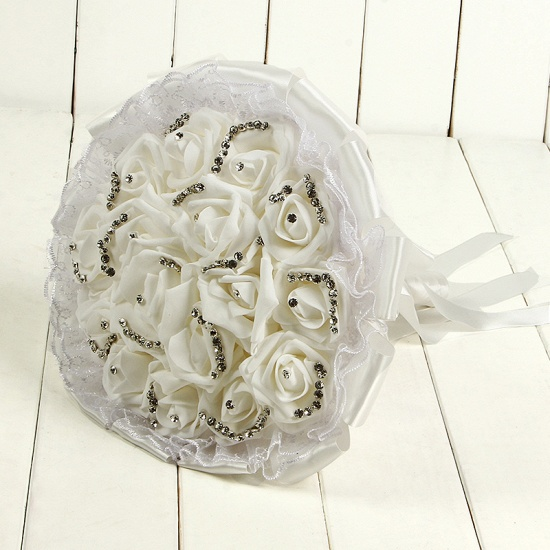 BMbridal Glitter Crystal Beading Wedding Bouquets with Lace_1