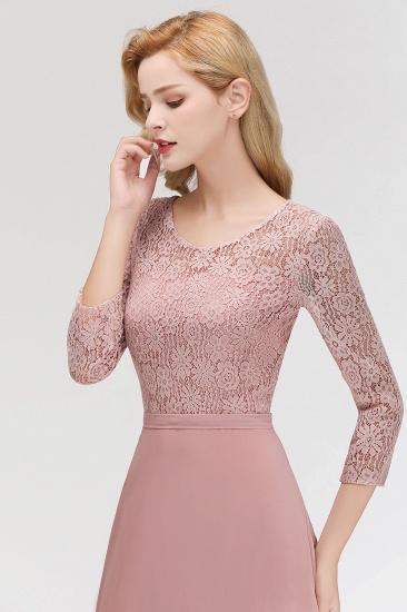 Elegant 3/4 Sleeves Lace Long Dusty Rose Bridesmaid Dresses Online_6
