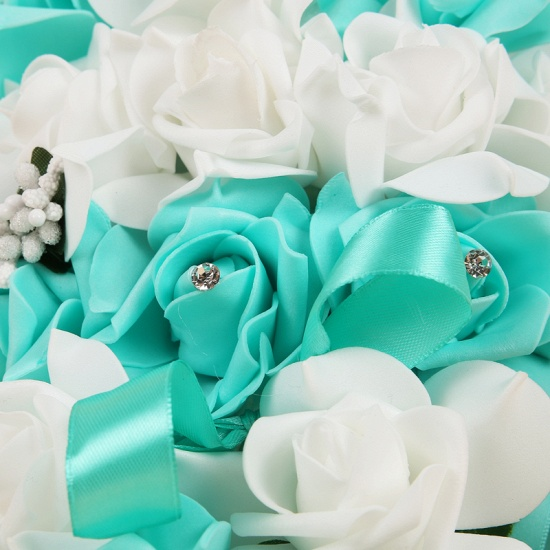 BMbridal Colorful Silk Rose Wedding Bouquet with Ribbons_11