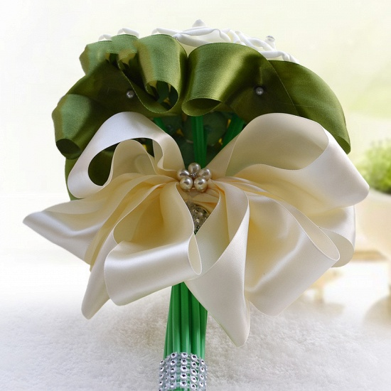 BMbridal Ivory Silk Beading Rose Bouquet with Colorful Ribbons_12
