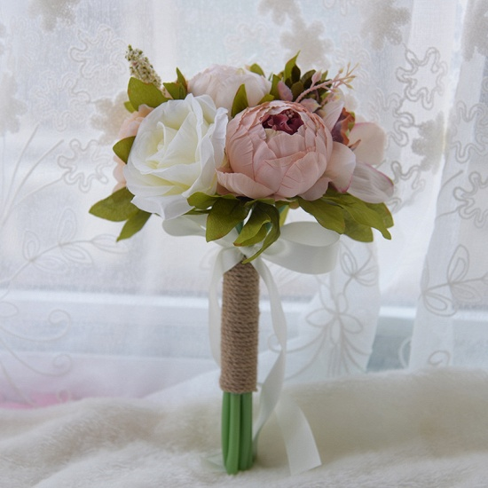 BMbridal Real Touch Artificial Peony and Rose Wedding Bouquet_2