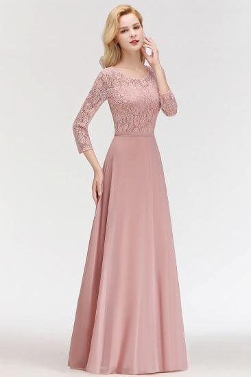 Elegant 3/4 Sleeves Lace Long Dusty Rose Bridesmaid Dresses Online_4