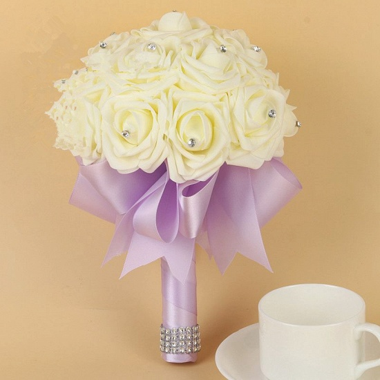 BMbridal Ivory Silk Beading Rose Bouquet with Colorful Ribbons_7