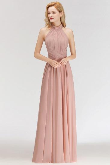 BMbridal A-line Floor Length Halter Ruffled Chiffon Bridesmaid Dress_6