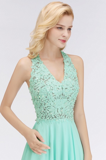 Affordable V-Neck Short Lace Birdesmaid Dresses Online_7