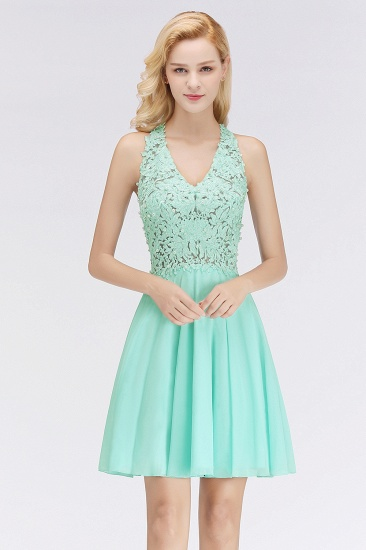 Affordable V-Neck Short Lace Birdesmaid Dresses Online_1