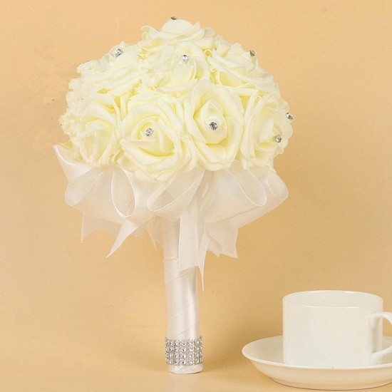 BMbridal Ivory Silk Beading Rose Bouquet with Colorful Ribbons_1