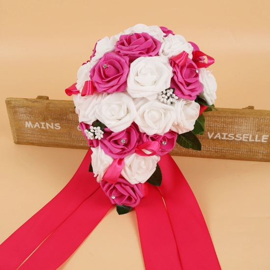 BMbridal Colorful Silk Rose Wedding Bouquet with Ribbons_4
