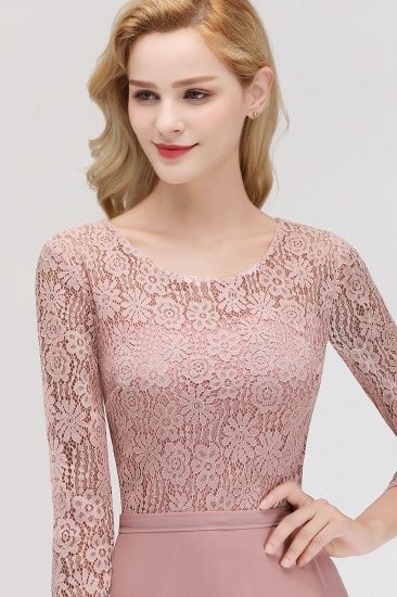 BMbridal Elegant 3/4 Sleeves Lace Long Dusty Rose Bridesmaid Dresses Online_5
