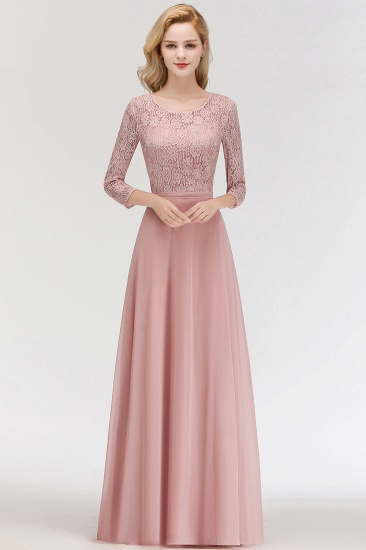 BMbridal Elegant 3/4 Sleeves Lace Long Dusty Rose Bridesmaid Dresses Online_1