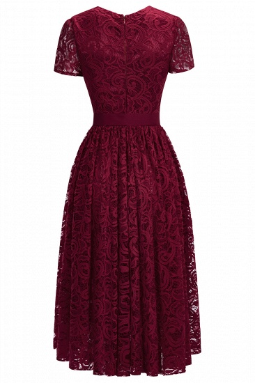 BMbridal Short Sleeves Seath Red Lace Dress with Ribbon Bow_5