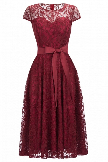BMbridal Burgundy Lace Short Sleeves A-line Dress with Bow_2
