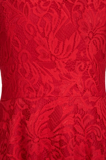 BMbridal A-line Hi-lo V-neck Sleeveless Burgundy Lace Dress_11