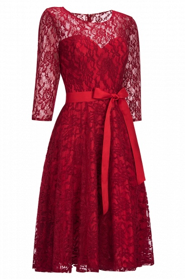BMbridal Vintage A-line Burgundy Lace Dress with Sleeves_1
