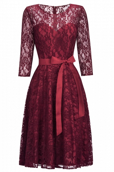BMbridal Vintage A-line Burgundy Lace Dress with Sleeves_7