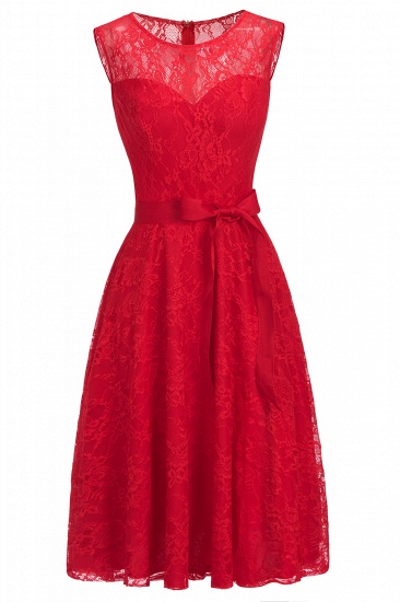 BMbridal A-line Sleeveless Burgundy Lace Dress with Bow_8