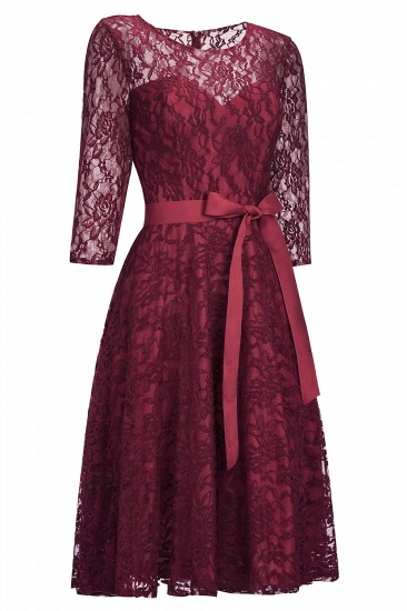 BMbridal Vintage A-line Burgundy Lace Dress with Sleeves_2