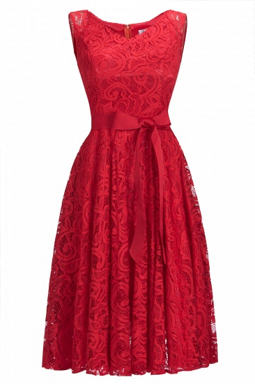 BMbridal Simple Sleeveless A-line Red Lace Dress with Ribbon Bow_1